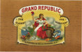 """Antique Stone Lithography:Cigar Label Art, Grand Republic Cigar Label by E. Popper & Co., New York. Full color lithographed 8.5"""" x 5.5"""" inner label showing the..."""