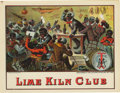 """Antique Stone Lithography:Cigar Label Art, Lime Kiln Club 1883 Black Americana Cigar Label by Mensing & Stecher of Rochester, New York. A lithographed 8"""" x 6"""" ..."""