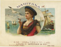 """Antique Stone Lithography:Cigar Label Art, Maritana Nautical Cigar Label by Louis C. Wagner & Co.,New York. Full color lithographed 7.75"""" x 6"""" inner label. A ..."""