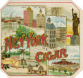 "Antique Stone Lithography:Cigar Label Art, New York Cigar Cigar Label by O. L. Schwencke, New York.Full color lithographed 4.5"" x 4.25"" outer label. Looking l..."