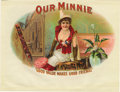 "Antique Stone Lithography:Cigar Label Art, Our Minnie Cigar Label. Full color lithographed 8.25"" x 6.35"" inner label with gold-embossed highlights. ""Good Value..."