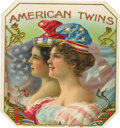 "Antique Stone Lithography:Cigar Label Art, American Twins 1898 Cigar Label by American Lithographic Co. A colorful 4.25"" x 4.5"" outer label lithographed by Wit..."