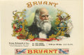 """Antique Stone Lithography:Cigar Label Art, Bryant 1899 Sample Cigar Label by Schmidt & Co of NewYork. A lithographed 9"""" x 6"""" inner label picturing a portrait ..."""