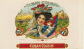 """Antique Stone Lithography:Cigar Label Art, Cuban Cousin Cigar Label by Jacob Stahl, Jr. & Co. ofNew York. A full color lithographed 10"""" x 6"""" inner label with ..."""