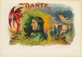"Antique Stone Lithography:Cigar Label Art, Dante Cigar Label by the Sulzberger - Oppenheimer Co., Ltd.Full color lithographed 8.5"" x 6"" inner label with gold-..."