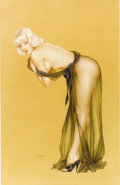 Paintings, ALBERTO VARGAS (American 1896 - 1983) . Please Don't Peek Until I Finish Dressing, original Vargas Girl pin up illus... (Total: 1 Item)