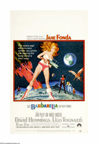 "Barbarella (Paramount, 1968). Window Card (14"" X 22""). Jane Fonda stars as a voluptuous outer space agent who..."