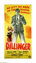 "Movie Posters:Crime, Dillinger (Monogram, 1945). Three Sheet (41"" X 81""). Offered hereis an original poster from this biographical crime drama s..."