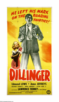 "Dillinger (Monogram, 1945). Three Sheet (41"" X 81""). Offered here is an original poster from this biographical..."