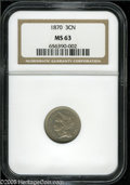 "Three Cent Nickels: , 1870 3CN MS63 NGC. The current Coin Dealer Newsletter (Greysheet)wholesale ""bid"" price is $130.00...."