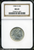"Barber Quarters: , 1900-O 25C MS65 NGC. The current Coin Dealer Newsletter (Greysheet)wholesale ""bid"" price is $2800.00...."
