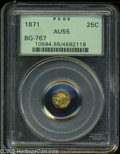 California Fractional Gold: , 1871 25C Liberty Octagonal 25 Cents, BG-767, R.3, AU55 PCGS. ...