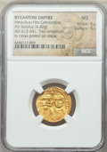 Ancients:Byzantine, Ancients: Heraclius (AD 610-641) and Heraclius Constantine.AVsolidus (4.40 gm).NGC MS 4/5 - 4/5....