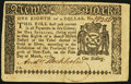Colonial Notes, New York March 5, 1776 $1/8 Extremely Fine.. ...