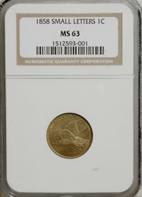 1858 1C Small Letters MS63 NGC....(PCGS# 2020)