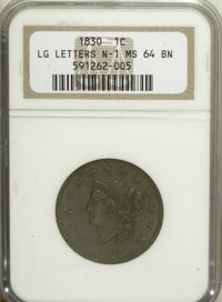 1830 1C Large Letters MS64 Brown NGC....(PCGS# 1672)