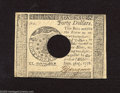 Colonial Notes:Continental Congress Issues, Continental Currency Contemporary Counterfeit September 26, 1778$40 Choice About Uncirculated+++. This punch cancelled cont...