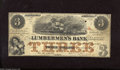 Obsoletes By State:Iowa, Dubuque, IA - Lumberman's Bank $3 Sept. 1, 1857. This note'scentral vignette shows a few three mast ships on what can be co...