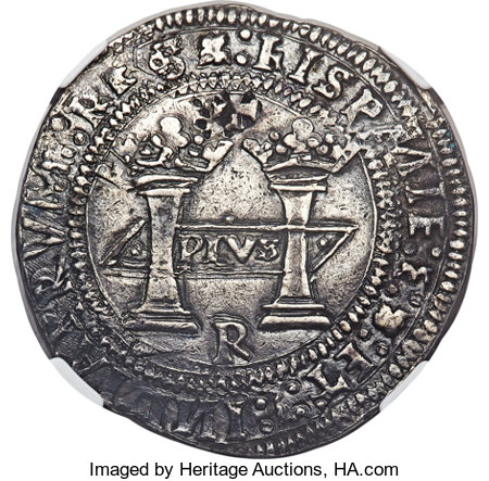 """Mexico: Charles and Johanna """"Early Series"""" Rincón 8 Reales ND (c. 1538) •M•-•M• AU50 NGC,..."""