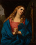 Decorative Arts, Continental:Other , A Continental Oil on Steel Panel After Guido Reni: MaryMagdalene, 19th century. Marks: (label to verso). 7-...