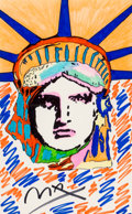Works on Paper, Peter Max (American, b. 1937). Liberty. Marker on paper. 21-1/2 x 13-1/2 inches (54.6 x 34.3 cm) (sight). Signed lower c...