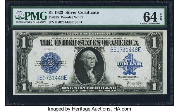 Fr. 238 $1 1923 Silver Certificate PMG Choice Uncirculated 64 | Lot ...