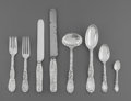Silver Flatware, American:Tiffany, A Twenty-Eight Piece Tiffany & Co. Chrysanthemum PatternSilver Flatware Group, New York City, designed 1880 by ... (Total:28 Items)