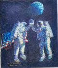 """Explorers:Space Exploration, Alan Bean Signed Limited Edition """"Lunar High Five"""" Giclée Canvas, #AP 14/15, with Handwritten Letter of Transmittal from Bean...."""