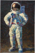 "Explorers, Alan Bean Signed Limited Edition ""Feelin' Fine"" Giclée Canvas, #AP 16/25, with Engraved Title Plaque. ..."