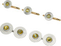 Estate Jewelry:Cufflinks, Cat's-Eye Chrysoberyl, Platinum, Gold Dress Set. ... (Total: 4 Items)