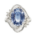 Estate Jewelry:Rings, Ceylon Sapphire, Diamond, Platinum Ring. ...