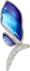 Estate Jewelry:Brooches - Pins, Diamond, Quartz, Shell, Gold Brooch, Vhernier. ...