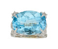 Estate Jewelry:Rings, Blue Topaz, Diamond, White Gold Ring The ring ...