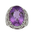 Estate Jewelry:Rings, Amethyst, Diamond, White Gold Ring The ring fe...