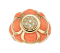 Estate Jewelry:Rings, Diamond, Coral, Gold Ring, French The carved c...
