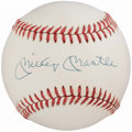 Autographs:Baseballs, Mickey Mantle Single Signed Baseball, PSA NM 7.5. . ...