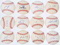 Autographs:Baseballs, Detroit Tigers Single Signed Baseball Lot of 12.. ...