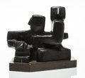 Sculpture, Louise Nevelson (1899-1988). Seated Figures, circa 1932. Bronze with black patina. 12-1/2 x 15-1/2 x 9-1/2 inches (31.8 ...
