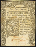 Colonial Notes, Connecticut June 1, 1775 6s Slash Cancel Extremely Fine.. ...