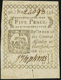 Colonial Notes, Connecticut October 11, 1777 5d Very Fine-Extremely Fine.. ...