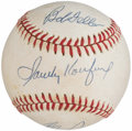 Autographs:Baseballs, Nolan Ryan, Sandy Koufax and Bob Feller Multi-Signed Baseball.. ...