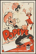 """Movie Posters:Animated, Popeye Stock Poster (Paramount, 1949). One Sheet (27"""" X 41"""") StyleA. Animated...."""