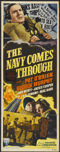 "Movie Posters:War, The Navy Comes Through (RKO, 1942). Insert (14"" X 36""). War...."