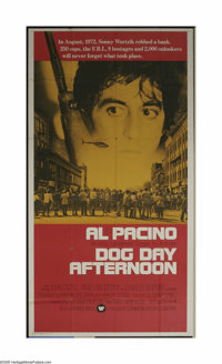 """Dog Day Afternoon (Warner Brothers, 1975). Three Sheet (41"""" X 81""""). This may be Al Pacino's second biggest bre..."""