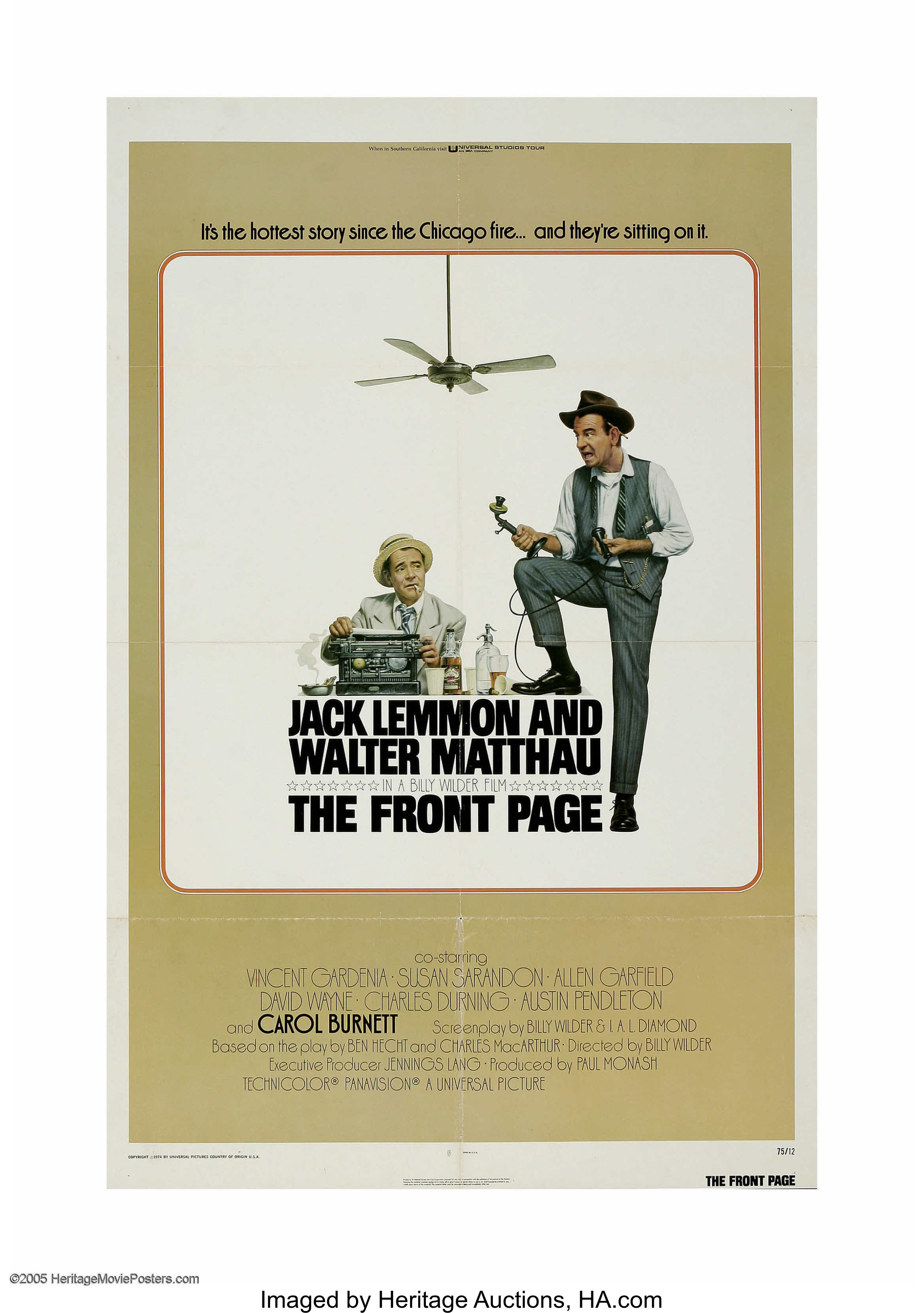 The front page Walter Mathau Jack Lemmon movie poster