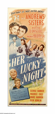 """Her Lucky Night (Universal, 1945). Insert (14"""" X 36""""). The Andrews Sisters consult a fortune teller to help th..."""