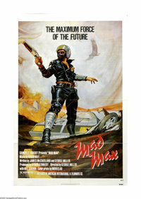 "Mad Max (Roadshow Film Distributors, 1979). One Sheet (27"" X 41""). The first of the series that made Mel Gibso..."
