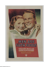 """Men Are Such Fools (Warner Brothers, 1938). One Sheet (27"""" X 41""""). Priscilla Lane is an ambitious secretary at..."""