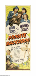 """Movie Posters:Musical, Private Buckaroo (Universal, 1942). Insert (14"""" X 36""""). This musical from early in WWII showed the difficulty that recruits ..."""