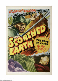 "Scorched Earth (Lamont Pictures, 1942). One Sheet (27"" X 41""). After the Japanese attacked Pearl Harbor, feeli..."